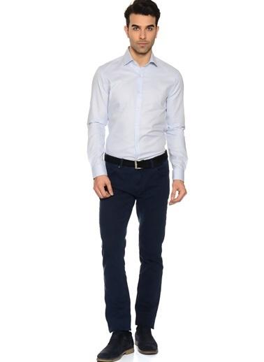 Cotton Bar Uzun Kollu Desenli Gömlek Mavi